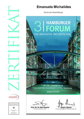 Zertifikat 2.Hamburger Foum für innovative Implantologie für Emanuela Michalides